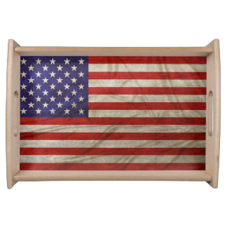 Riden ut amerikanska flaggan serveringsbricka