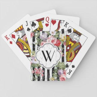 Riden ut svart rand för Monogram blommigt Spel Kort