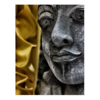 Riden ut vykort för statyansikte- och gultsilke