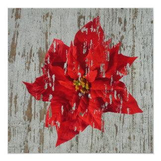 Ridit ut julstjärnavinter/gifta sig för jul fyrkantigt 13,3 cm inbjudningskort