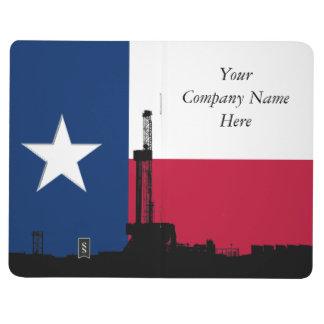 Rigg för borrande för Texas flaggaolja Anteckningsbok