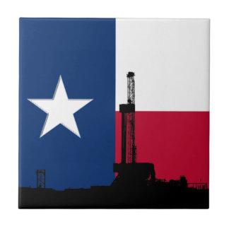 Rigg för borrande för Texas flaggaolja Liten Kakelplatta