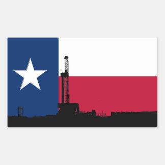 Rigg för borrande för Texas flaggaolja Rektangulärt Klistermärke