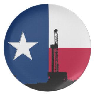 Rigg för borrande för Texas flaggaolja Tallrik