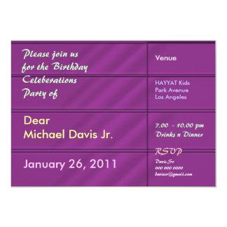 Rik purpurfärgad satäng med tar prov text 12,7 x 17,8 cm inbjudningskort
