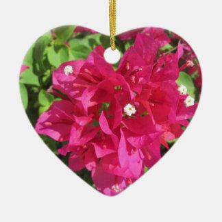 Rik röd Bougainvillea Hjärtformad Julgransprydnad I Keramik