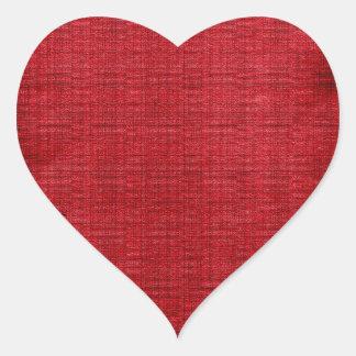 Rikt rött tyg hjärtformat klistermärke