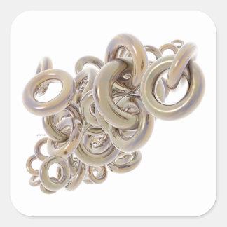 Ringar av guld fyrkantigt klistermärke