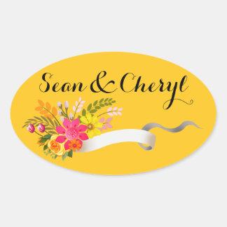 Ringblomma för band   för vintageFolklore blom- Ovalt Klistermärke
