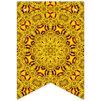Ringblommar gulnar vintageKaleidoscopeflaggor Vimplar