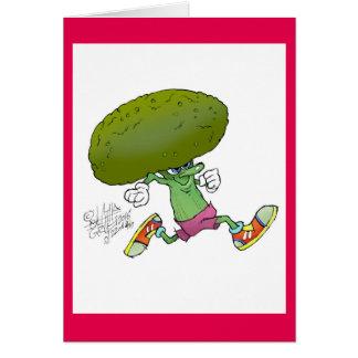 Rinnande broccoli för gullig tecknad, på ett hälsningskort