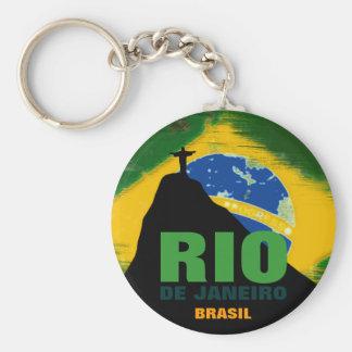 Rio de Janeiro - Brasil flagga Rund Nyckelring