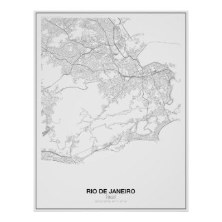 Rio de Janeiro Brasilien, Minimalist kartaaffisch Poster