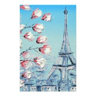 ris-vårmålning, blommar för Eiffel tornkörsbär Brevpapper