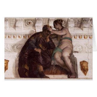 Riskera kröna en sova man av Paolo Veronese Hälsningskort