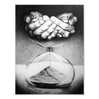 """Ritar det Time"" timglaset teckningfototrycket Fototryck"