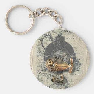 Ritt för Steampunk Dirigibleballong Rund Nyckelring