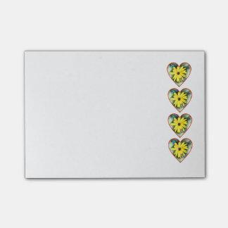 Ro av hjärtor, daisy och fjärilar post-it block