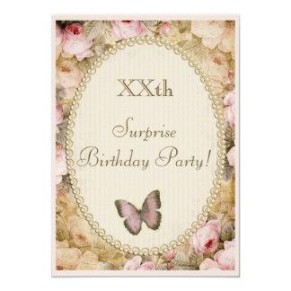 Ro fjäril, musik för vintageöverrrakningfödelsedag 12,7 x 17,8 cm inbjudningskort