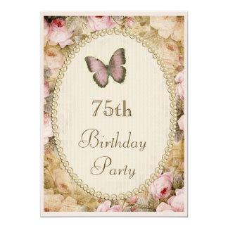 ro fjäril, musik noter för 75:efödelsedagvintage 12,7 x 17,8 cm inbjudningskort