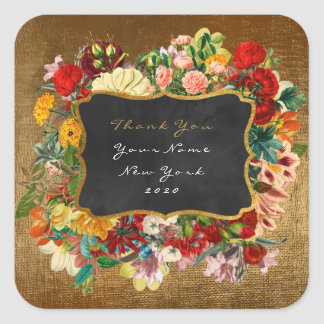 Ro för Vip för glitter för tackgåvaetikett blom- Fyrkantigt Klistermärke
