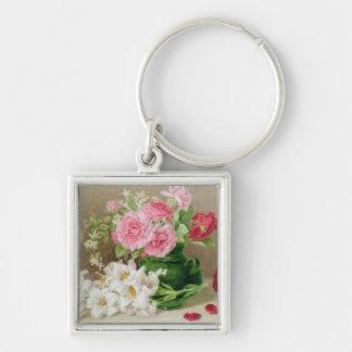 Ro och liljar fyrkantig silverfärgad nyckelring