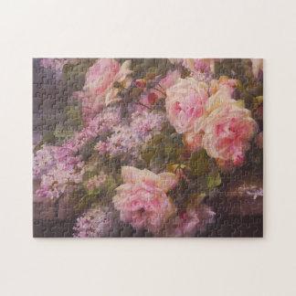 Ro och lilor på en cementera tar av planet konst pussel
