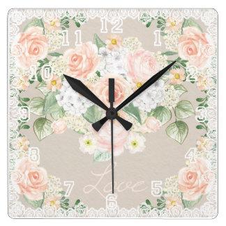 Ro & snöre för kärlekvattenfärg romantiska fyrkantig klocka