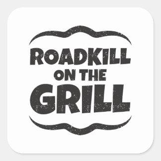 Roadkill på grilla - roligt BBQ-party Fyrkantigt Klistermärke