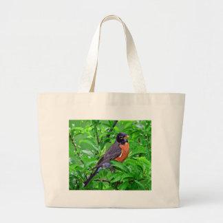 Robin fågel i regna och skogen, Robin gif Jumbo Tygkasse