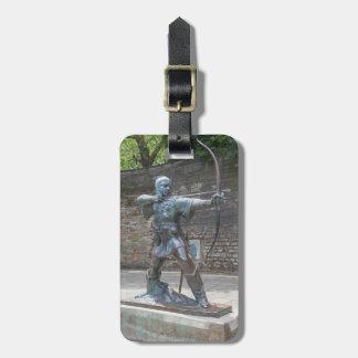 Robin Hood staty vid det Nottingham slottfotoet Bagagebricka