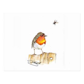 Robin original- vattenfärgdesign vykort