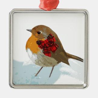 Robins och julTartanpilbåge i snö Julgransprydnad Metall
