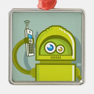 Robot på den mobila vektorsymbolen julgransprydnad metall