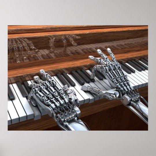Robot Som Leker P 229 Pianot Poster Zazzle Se