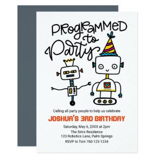 Robotar som programmeras för att festa 12,7 x 17,8 cm inbjudningskort
