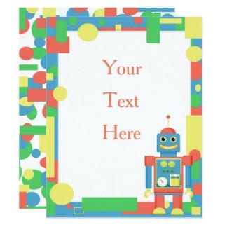 robotfödelsedaginbjudan 10,8 x 14 cm inbjudningskort