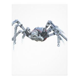 Robotspindel i grå färg, rött och silver brevhuvud