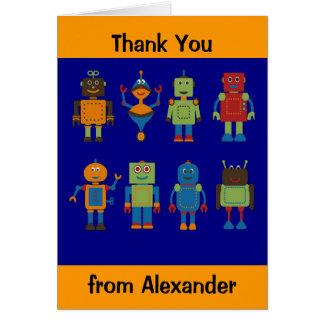 Robotvänbarns kort för tack för personlig