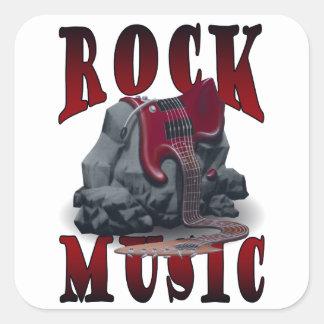 Rock Music Fyrkantigt Klistermärke