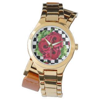 Rockabilly blom- kärlek för röd rosbukett armbandsur
