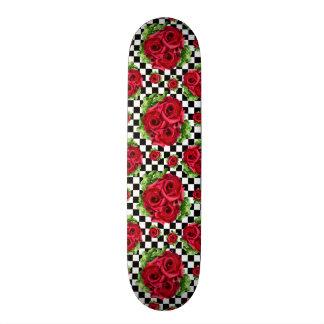 Rockabilly blom- kärlek för röd rosbukett mini skateboard bräda 18,7 cm