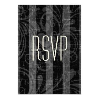 Rockabilly görade randig bröllop OSAsvart & grå 8,9 X 12,7 Cm Inbjudningskort