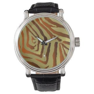 Rockabilly guld- orange zebra tryckformgivare för armbandsur