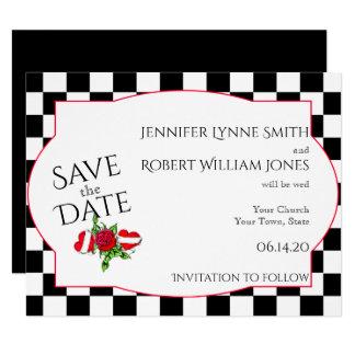 Rockabilly hjärtor och rosa bröllop spara datum 10,8 x 14 cm inbjudningskort
