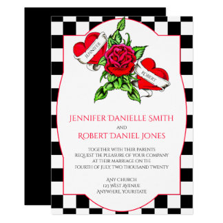 Rockabilly hjärtor och rosa bröllopinbjudan 12,7 x 17,8 cm inbjudningskort