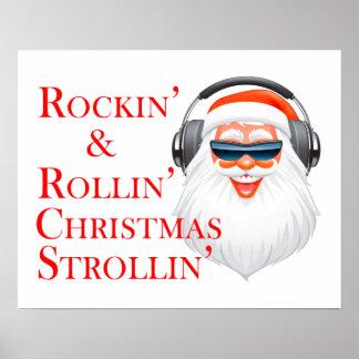 Rockin kall jultomten med hörlurar poster