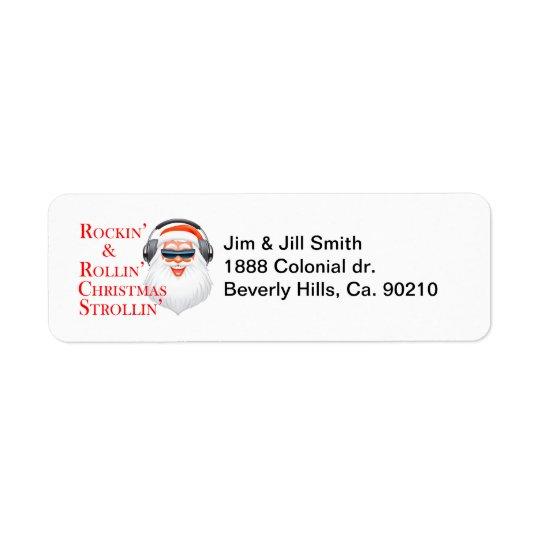 Rockin kall jultomten med hörlurar returadress etikett