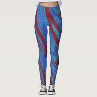 Röd abstrakt för blåttfärgSwish Leggings