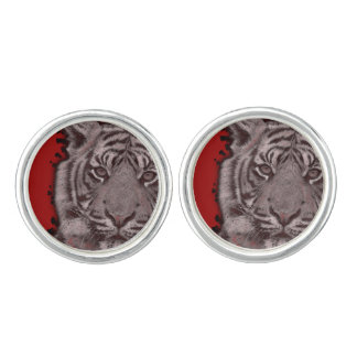 Röd abstrakt tiger för Grunge Cufflinks